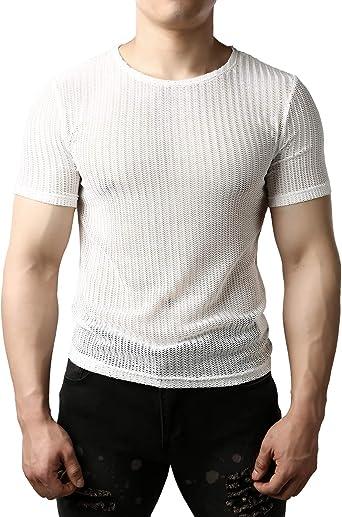 JOGAL Camiseta de manga corta para hombre de malla transparente: Amazon.es: Ropa y accesorios