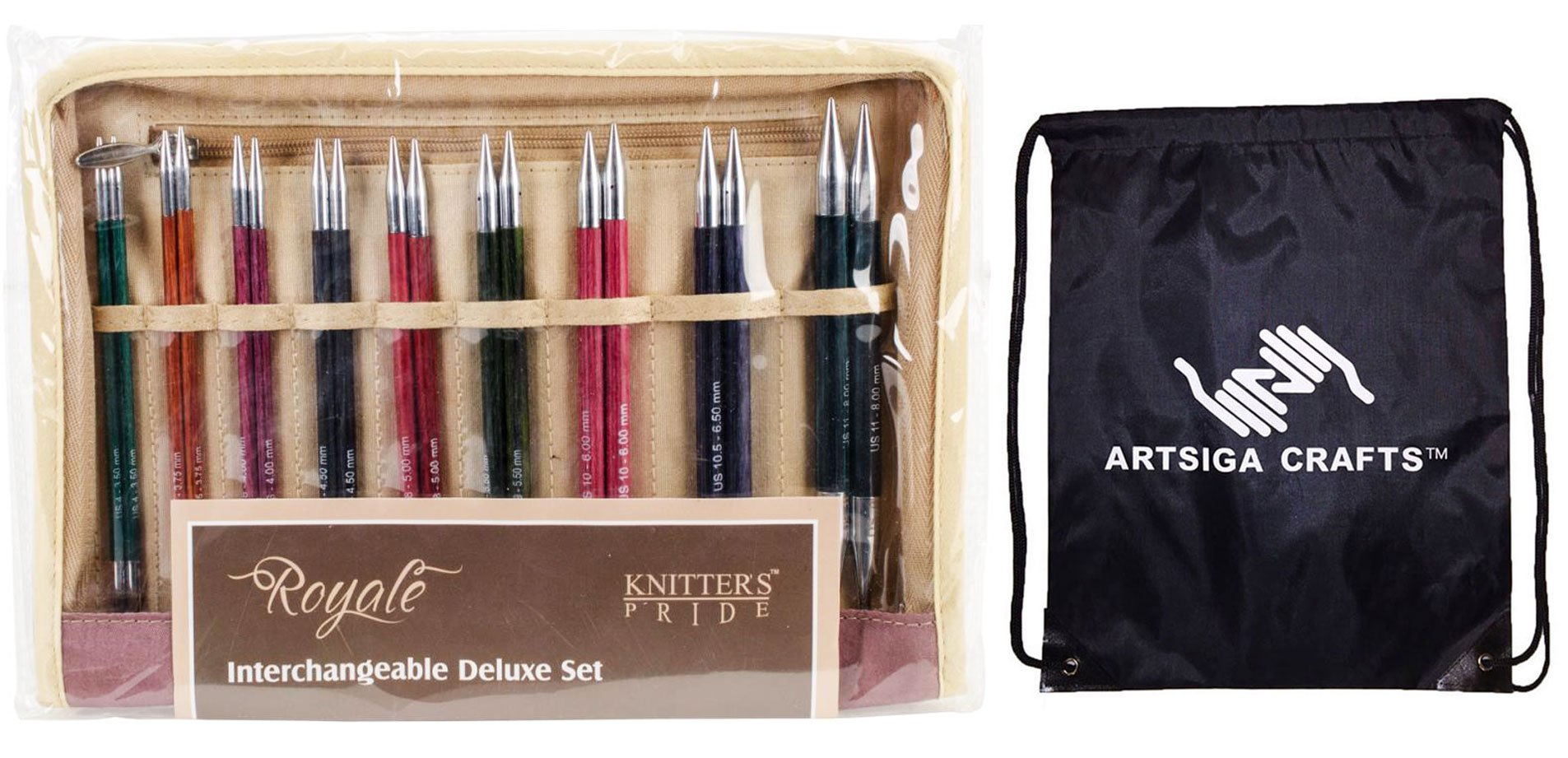 Knitter's Pride Knitting Needles Royale Interchangeable Deluxe Long Tip Set Deluxe Set (Normal IC) Bundle with 1 Artsiga Crafts Project Bag 220351