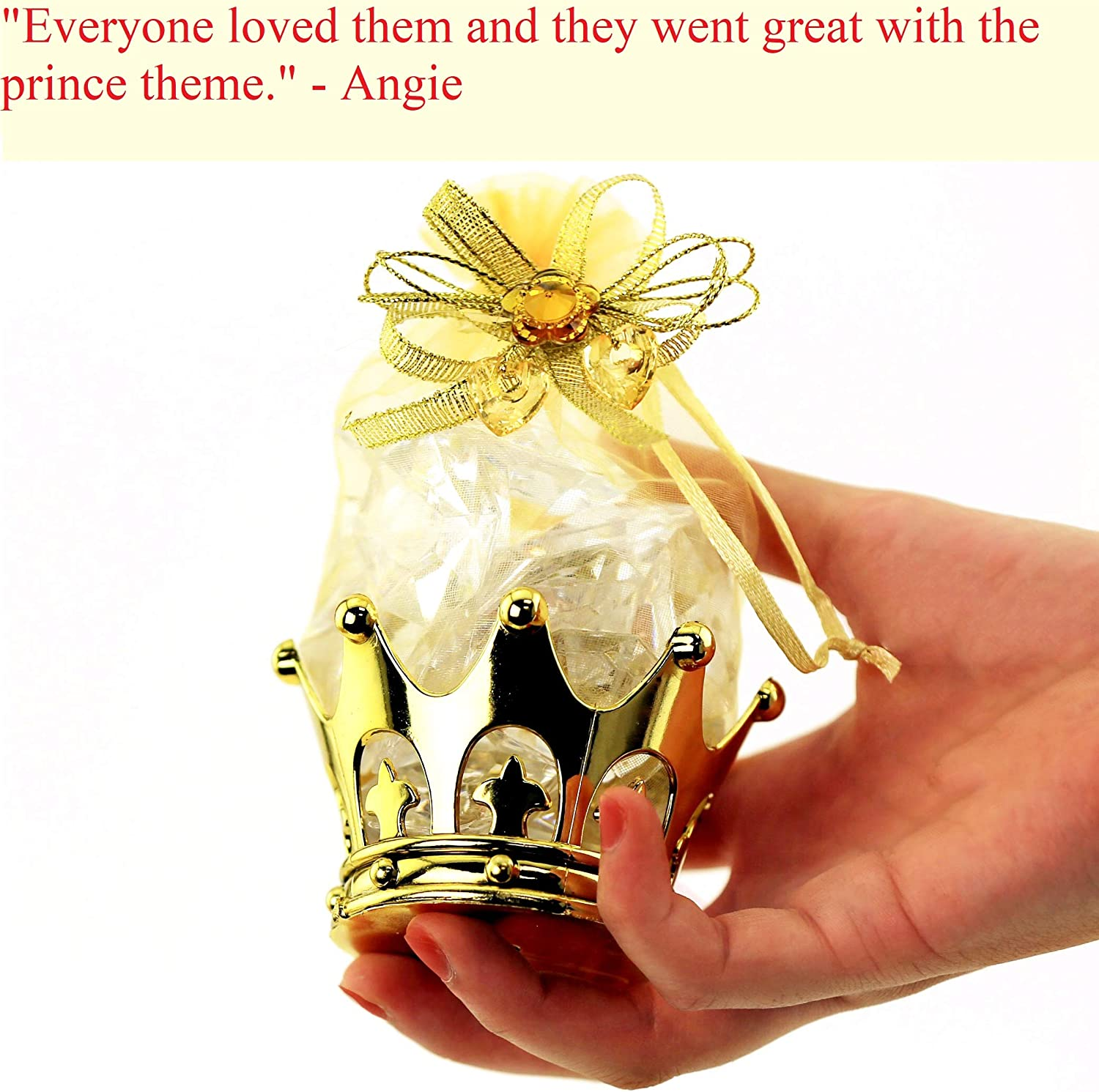 12pc Gold Crown Goblet Wedding Table Decoration Birthday Candy Favor