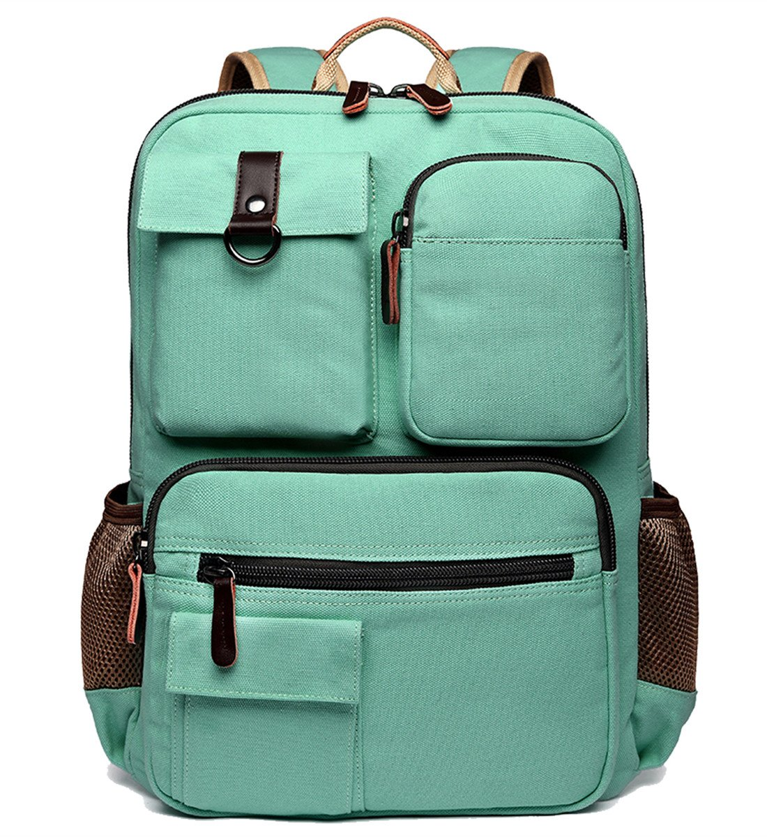 School Backpack Vintage Canvas Laptop Backpacks Men Women Rucksack Bookbags, Mint Green by CAMTOP
