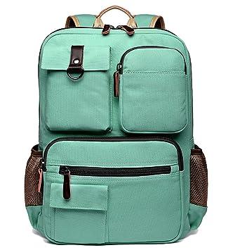 3154d9b55faf School Backpack Vintage Canvas Laptop Backpacks Men Women Rucksack  Bookbags, Mint Green