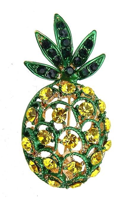 Ella Jonte Brosche Ananas Strass gelb grün by Ziernadel schön zur Jeansjacke 011908b8e4