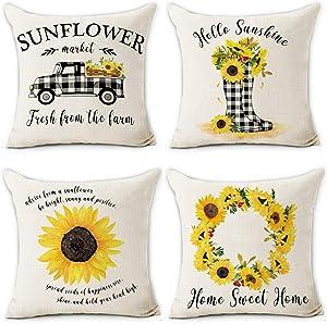 Hexagram Farmhouse Sunflower Pillow Covers 18 X 18 Inch Buffalo Plaid Truck Sunflower 4 Pieces Soft Cotton Linen Throw Pillow Covers for Sofa Couch Home Decor Farmhouse Decorative Pillowcase