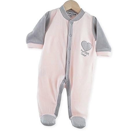 "Kinousses 810 2090 Grenouillères – Pijama de bebé niña de terciopelo con mensaje""Mon P"