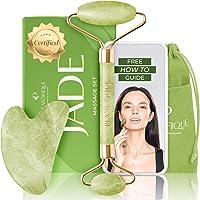 Premium certifierad jaderoller för hudvård - 100 % naturlig jadesten - anti-åldrande ansiktsmassagerrulle med Gua Sha…