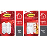 Command Designer Medium Plastic Hook(White, 2 Hooks and 4 Strips) & Medium Plastic Utility Hook (White,2 Hooks and  4 Strips), Damage-Free Hanging, Holds Strong Combo