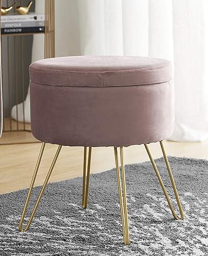 Ornavo Home Modern Round Velvet Storage Ottoman Foot Rest Stool/Seat