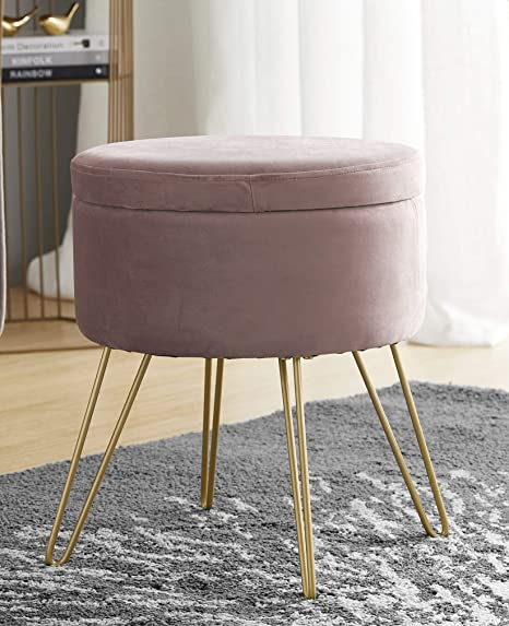 Outstanding Ornavo Home Modern Round Velvet Storage Ottoman Foot Rest Stool Seat With Gold Metal Legs Tray Top Coffee Table Blush Caraccident5 Cool Chair Designs And Ideas Caraccident5Info
