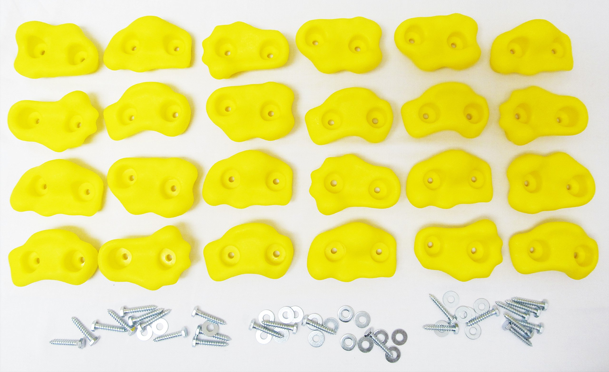 Shed Windows and More Rock Holds Set of 24 Yellow, Climbing Rock Holds, Swingset/Playset Rock Holds Rock Pegs Rock Wall