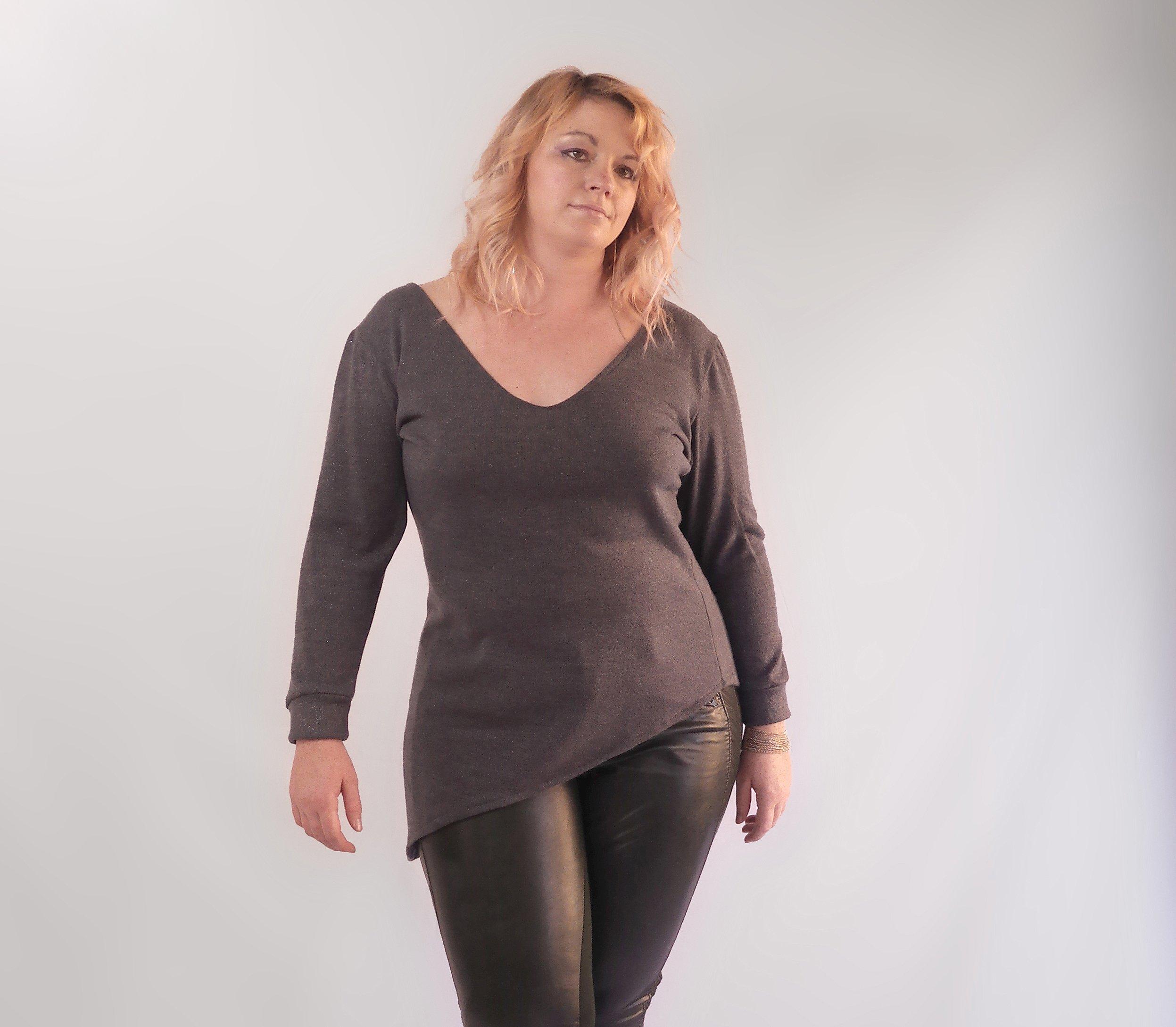 Asymmetric Dark Slate Metallic Tunic Top, Plus Size Knit Top, Dark Grey V-Neck Top, Night Out Top, Sparkly Soft Warm Sweater. Size ML-XL by Kimonology