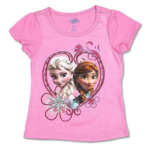 0fdfa09c2 Amazon.com: Disney Frozen Anna & Elsa Heart Toddler Little Girls Tee ...