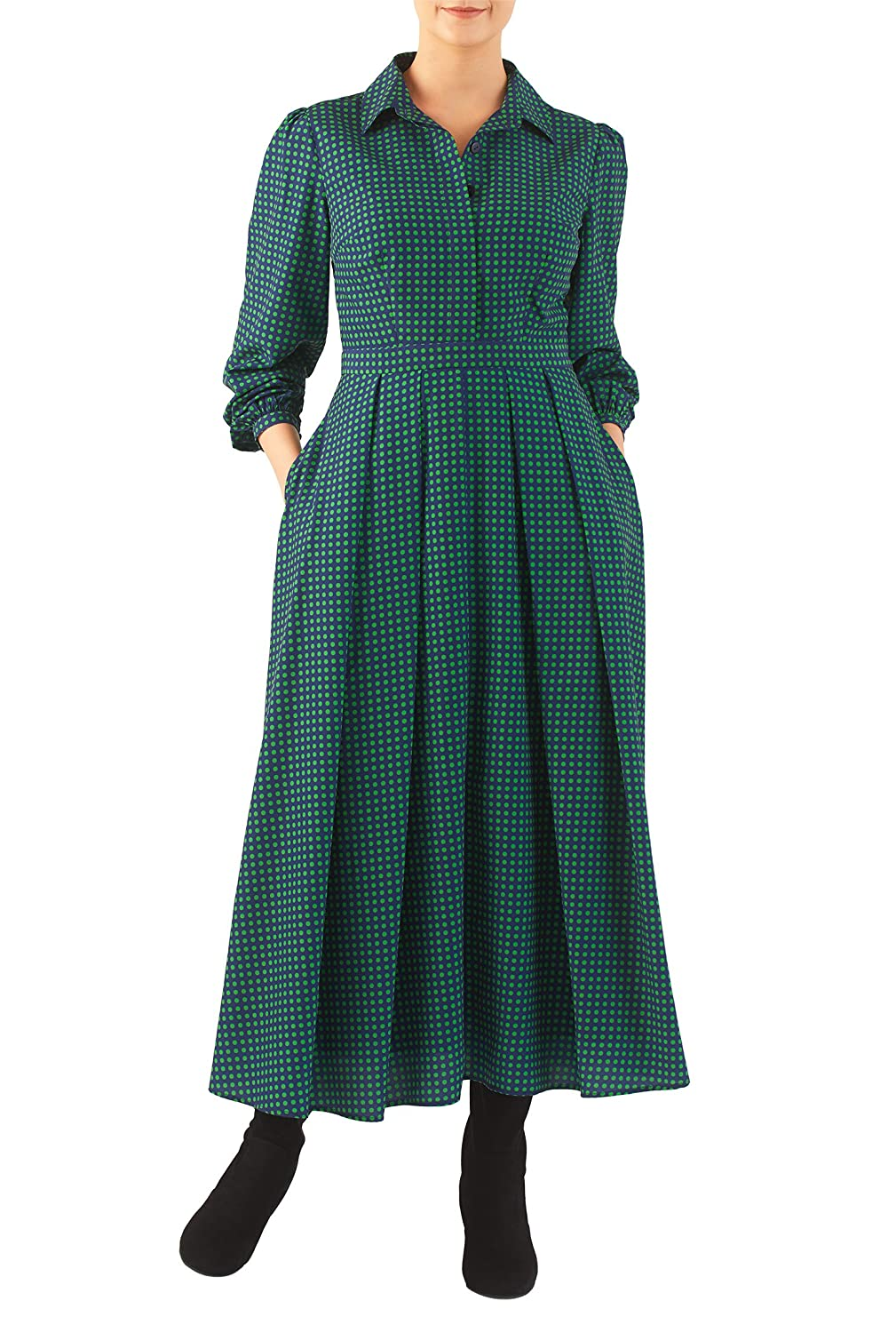 1940s Style Dresses and Clothing eShakti Womens Polka dot print crepe midi shirtdress $74.95 AT vintagedancer.com