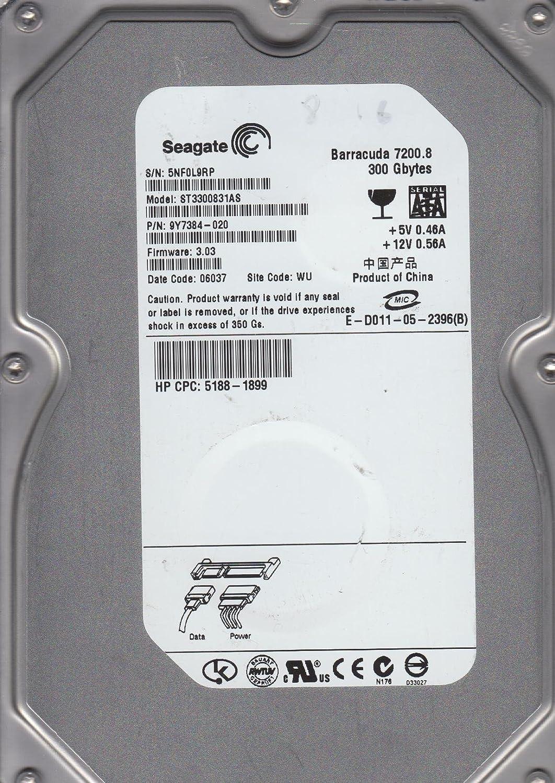 "Seagate barracuda 7200. 8 300 gb 3. 5"" st3300831as hard drive fw."
