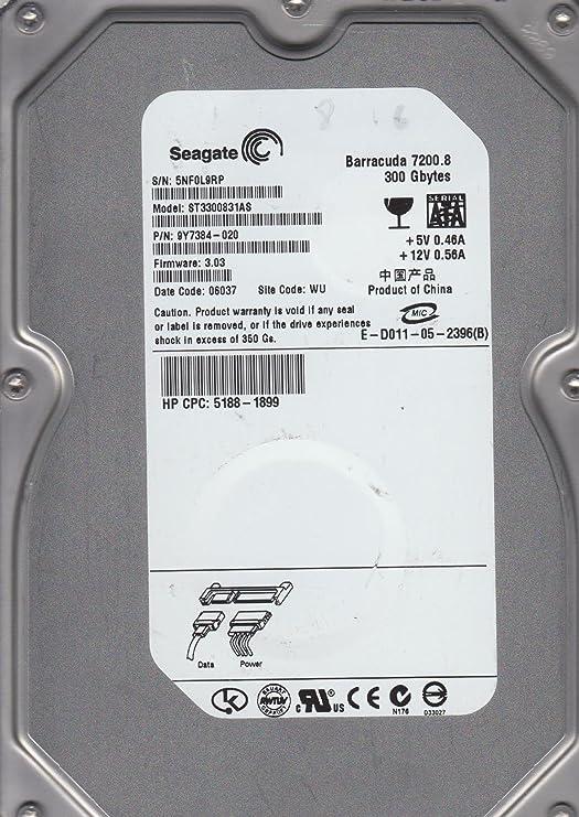 St3300831as, 5nf, wu, pn 9y7384-020, fw 3. 03, seagate 300gb sata.