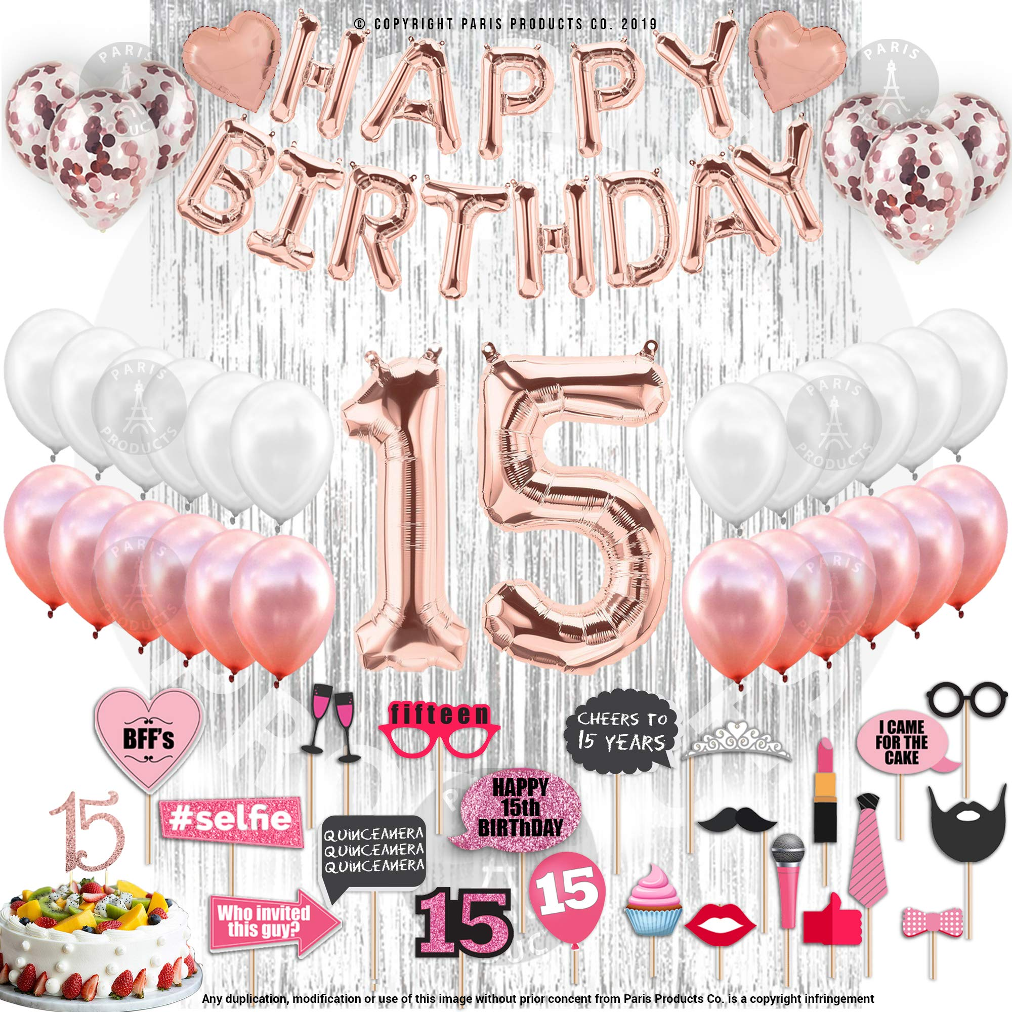 15th BIRTHDAY DECORATIONS| With Photo Props |15 Birthday Party Supplies| Quinceanera| 15 Cake Topper Rose Gold| Banner Rose Gold Confetti Balloons for her Silver Curtain Backdrop Props Photos 15thBday by PARIS PRODUCTS CO.