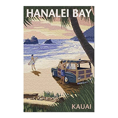 Hanalei Bay, Kauai, Hawaii - Woody on Beach (Premium 500 Piece Jigsaw Puzzle for Adults, 13x19, Made in USA!): Toys & Games