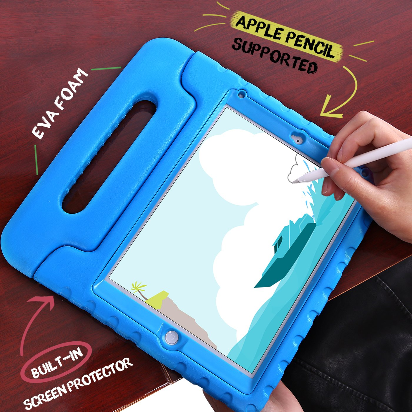 the best attitude b2344 80fb9 HDE Case for iPad 9.7-inch 2018 / 2017 Kids Shockproof Bumper Hard Cover  Handle Stand with Built in Screen Protector for New Apple Education iPad  9.7 ...