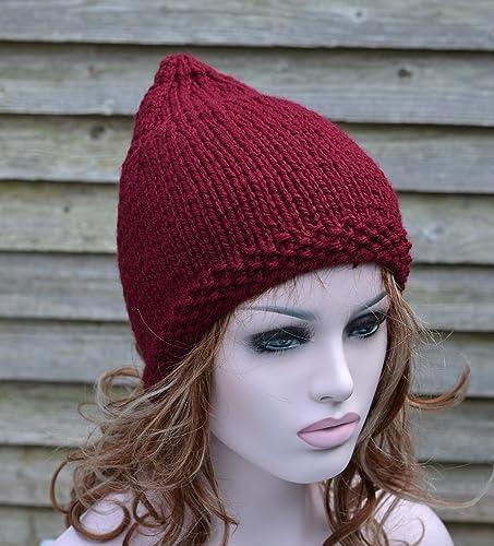 Amazon.com  Womens Burgundy Knitted Pixie Hat Festival Hat  Handmade dbdf8a43fe9