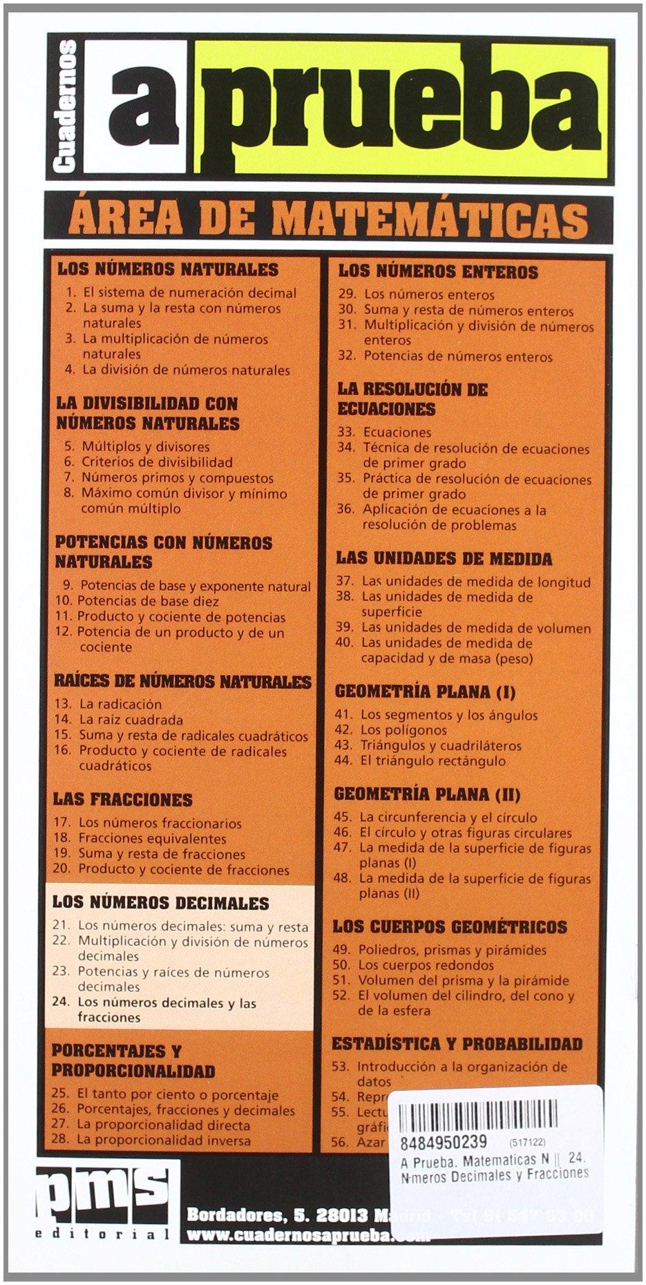 A Prueba. Matematicas Nº 24. Números Decimales y Fracciones: Amazon.es: Libros en idiomas extranjeros