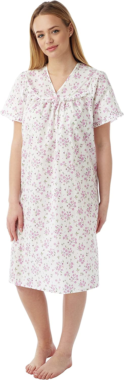 Marlon Ladies Poly Cotton Floral Sprig V Neck Nightdress Nightie MN20