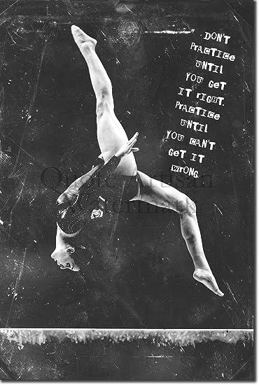"Gymnastics Motivational Poster 01 /""Don/'t practice.../"" Art Print Motivation"