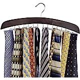 Richards Homewares Wooden Tie Rack Hanging Organizer for Mens Closet Accessories, Space Saving Necktie Holder for Storage and