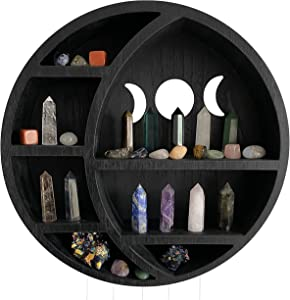 Black Cresent Moon Shelf | Crystal Shelf Display for Stones, Essential Oils & Whichy Decor | Moon Phase Wall Hanging Decor for Bedroom | Unique Crystal Holder for Meditation Decor