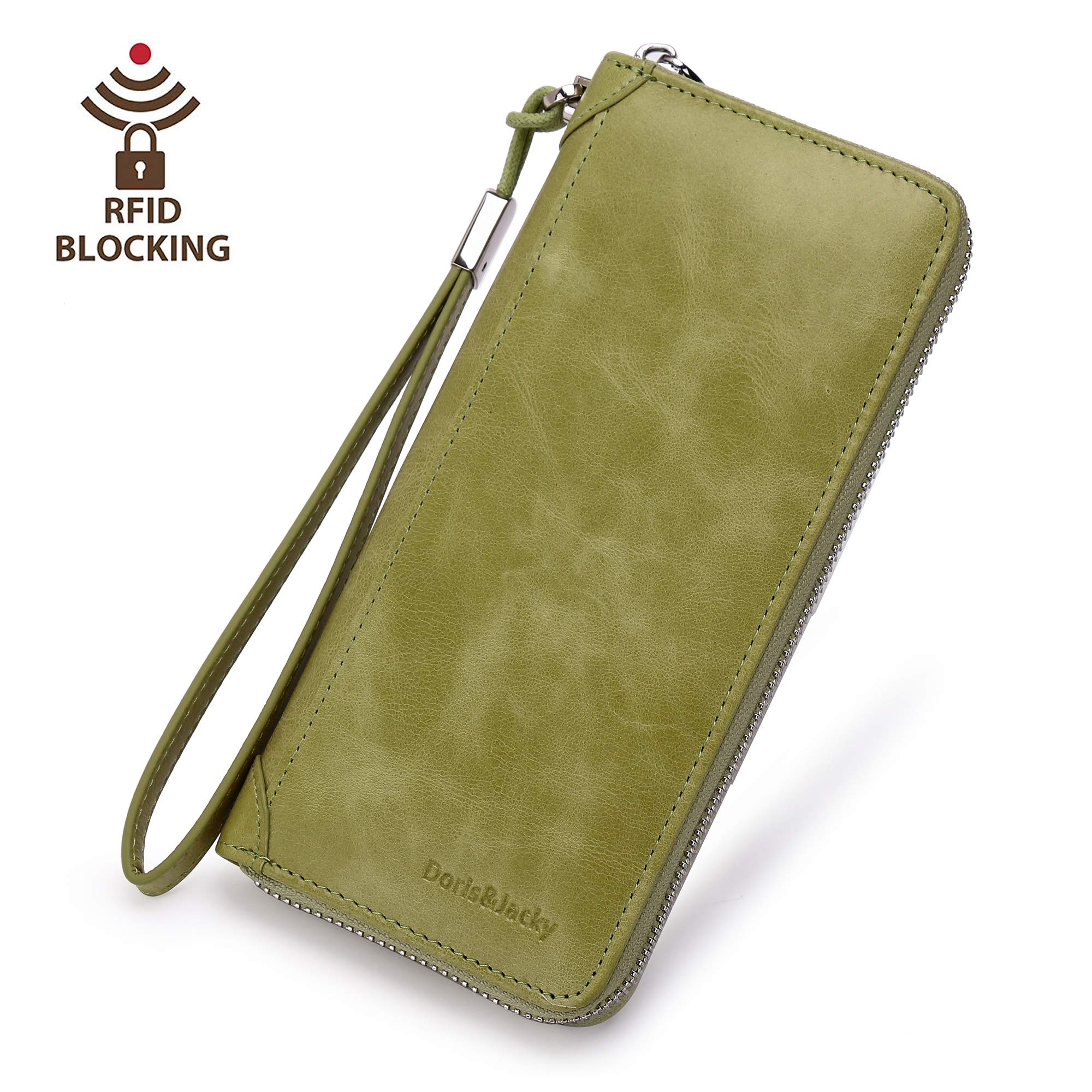Women Leather Wallet Rfid Blocking Large Capacity Zipper Around Travel Wristlet Bags (Palm Green)