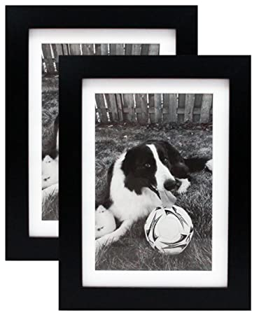 Amazoncom 5x7 Black Gallery Picture Frame With Mat To 4x6 Two