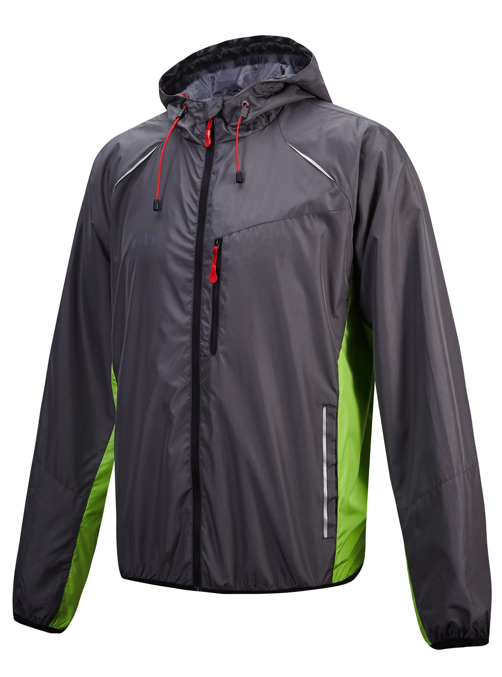 ZITY Cycling Jacket for Mens/Lightweight Hooded Running Biking Jacket Green-1 Small