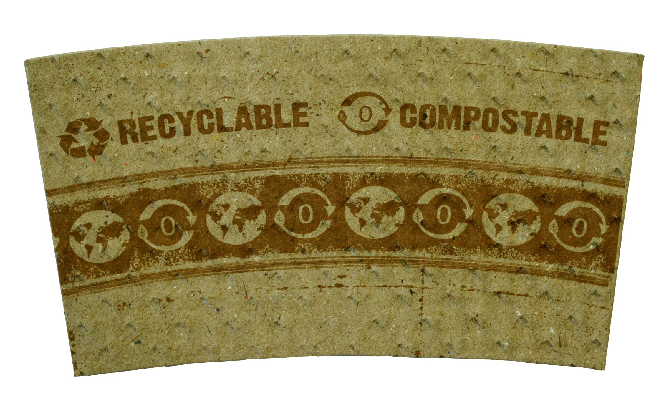 World Centric SL-PA-LG Compostable 100% Post-Consumer Recycled Paper Hot Cup Sleeves, for 10 - 20 oz. Cups (Pack of 1000)
