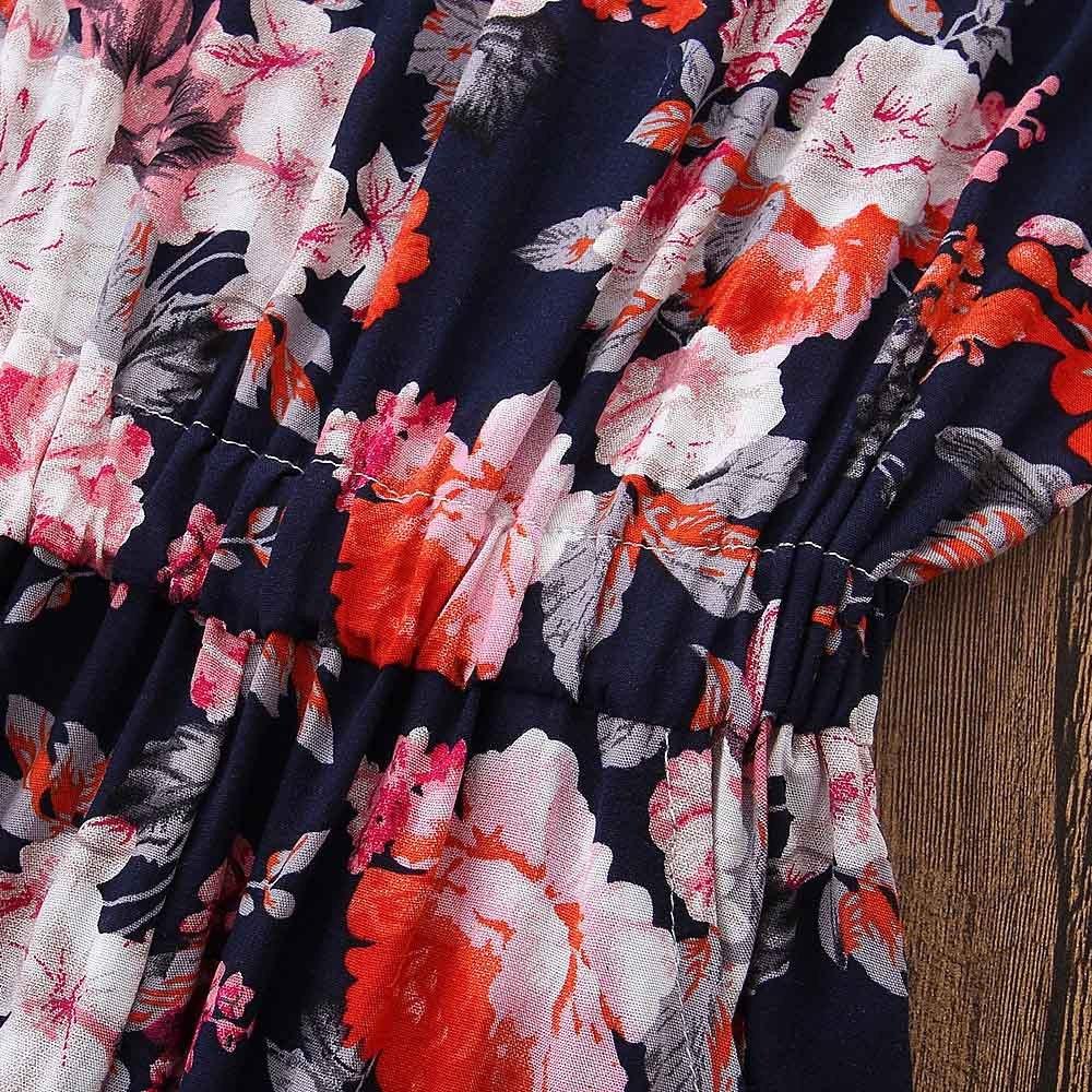 Gonxifacai Cute Kids Baby Girls Floral Sleeveless Straps Harem Pants Overalls Romper Jumpsuit
