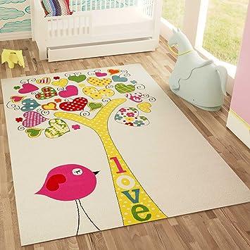 VIMODA Kinder Teppich Jugendzimmer Teppiche Weiss Gelb Rosa Herzhaftes  Motiv Baum Vogel Malerisch, Maße: