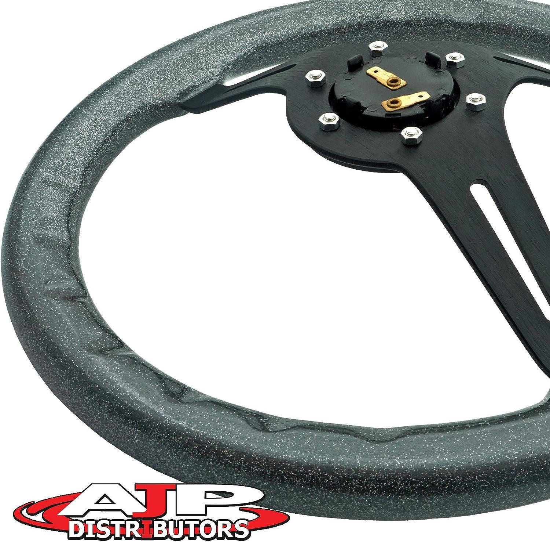 Black Wood Trim Silver Center AJP Distributor Universal 345mm 6 Bolt Hole Deep Dish Streak Aluminum Wood Grain Trim Steering Wheel Blank Horn Button JDM Euro VIP Racing Track Drift Drag