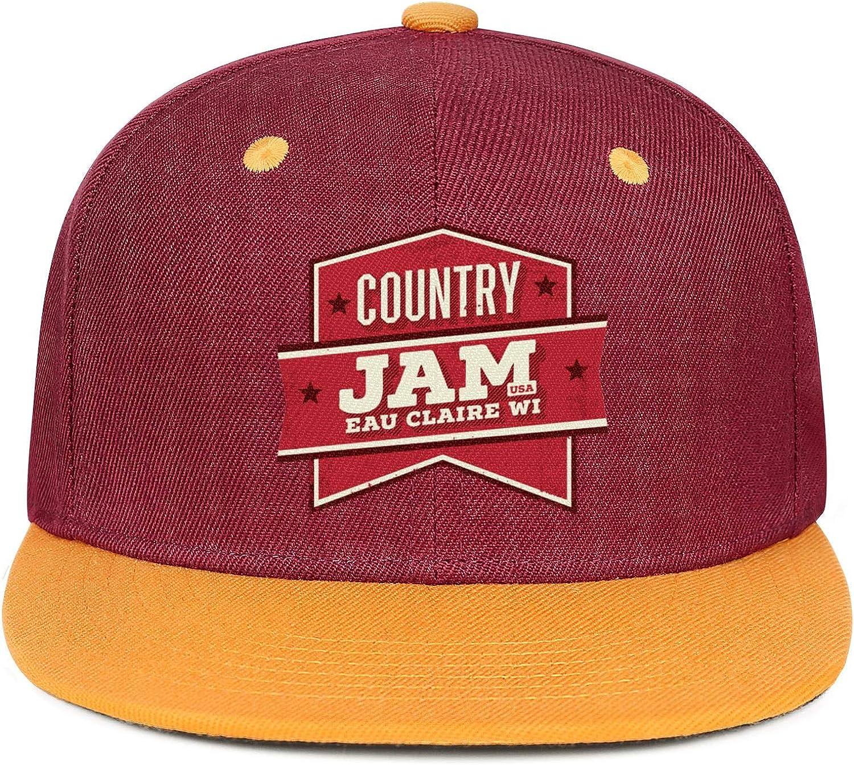 Unisex Mesh Snapback Cap Country Jam USA White Star Brim Hip Hop Baseball Hat