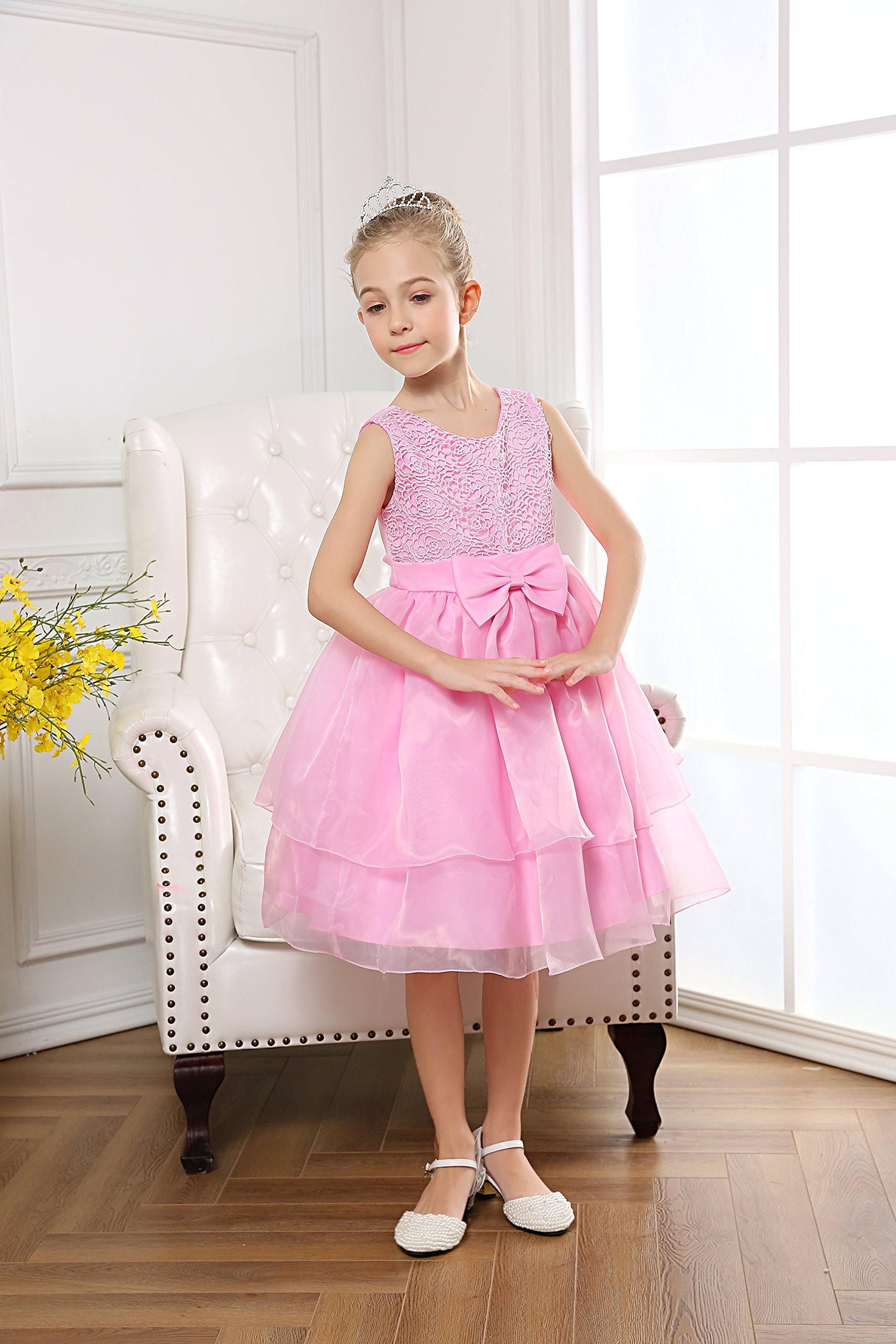 Fiream Flower Girls Dresses Tulle Sleeveless Princess Pageant Wedding Party Dresses(pink,3T/3-4YRS) by Fiream (Image #3)