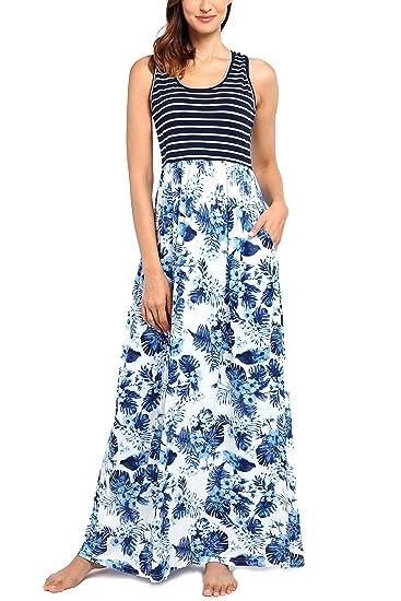 1f1be885e0b5 Comila Women s Summer Contrast Sleeveless Striped Flowy Floral Tank ...