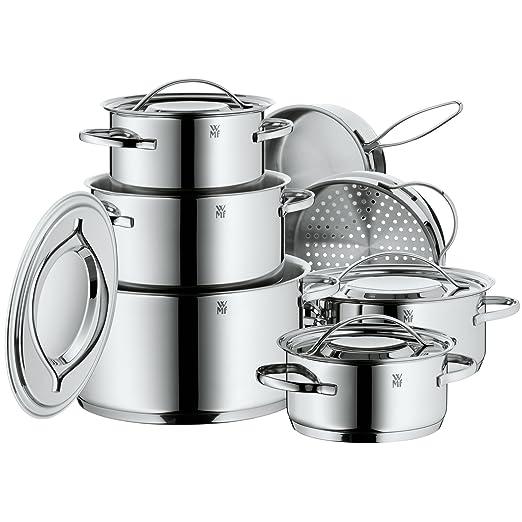 WMF Gala Plus Batería de Cocina (7 Piezas), Acero Inoxidable Cromargan, Apta para Todo Tipo de cocinas Incluso inducción