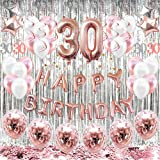 HAPYCITY 30th Birthday Decorations Balloons (55pack)Rose Gold 30 Balloons Number Happy 30 Party Supplies for Her-Perfect…
