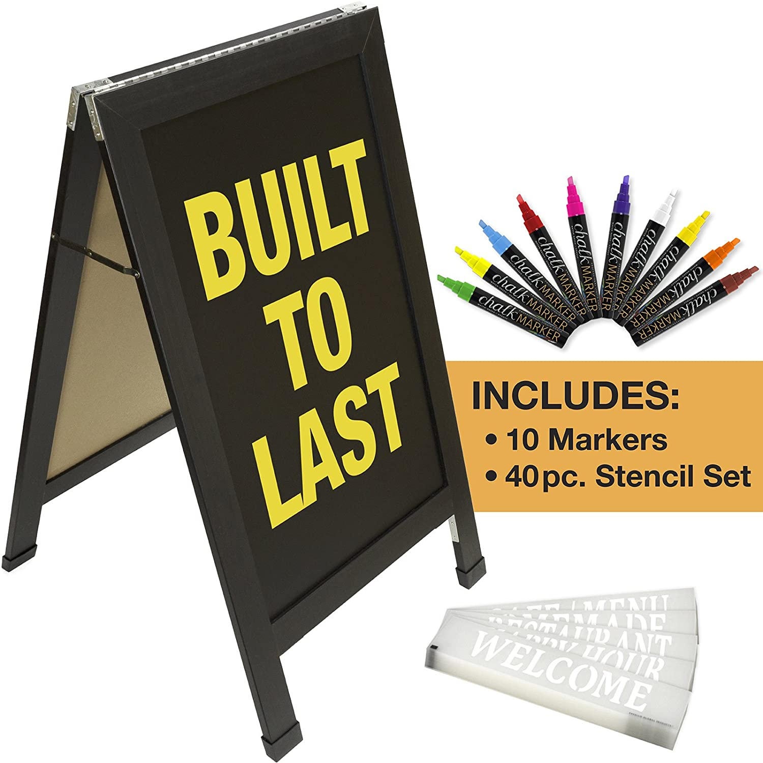 Sandwich Board Sidewalk Chalkboard Sign: Reinforced, Heavy-Duty / 10 Chalk Markers / 40 Piece Stencil Set/Chalk / Eraser/Double Sided/Large 40x23 Chalk Board Standing Sign A-Frame (Rustic) Excello Global Products EGP-CKB-0010