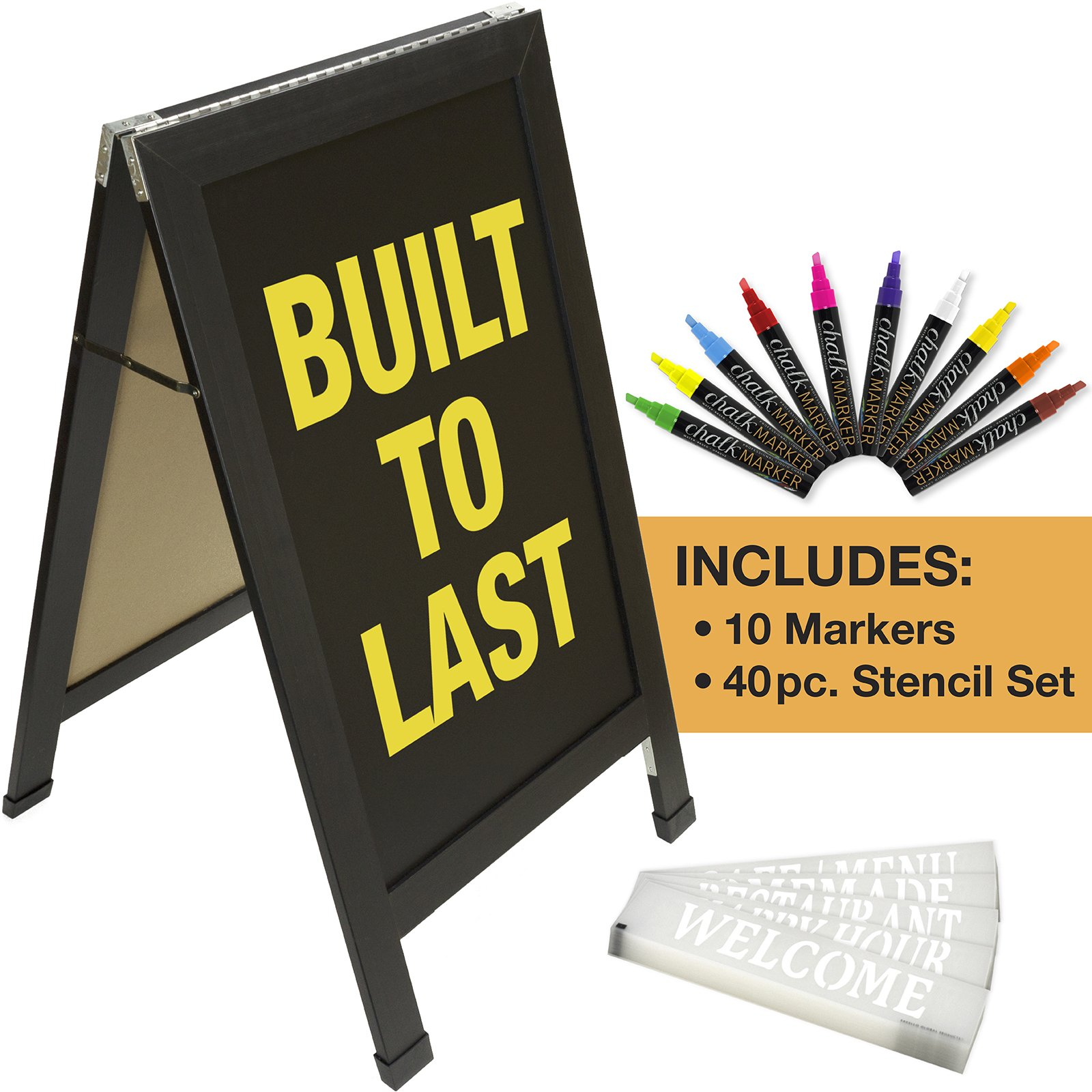 Sandwich Board Sidewalk Chalkboard Sign: Reinforced, Heavy-Duty / 10 Chalk Markers / 40 Piece Stencil Set/Chalk/Eraser/Double Sided/Large 40x23 Chalk Board Standing Sign A-Frame (Black) by Excello Global Products