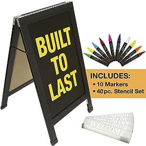 Sandwich Board Sidewalk Chalkboard Sign: Reinforced, Heavy-Duty / 10 Chalk Markers / 40 Piece Stencil Set/Chalk/Eraser/Double Sided/Large 40x23 Chalk ...