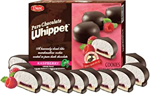Dare Whippet Cookies, Raspberry, Pack of 12 Boxes (14 Cookies Per Box) – Made with Fresh-Tasting Raspberry, Heavenly Marshmallow Center, Rich Chocolate, 12 - 8.8 oz Boxes