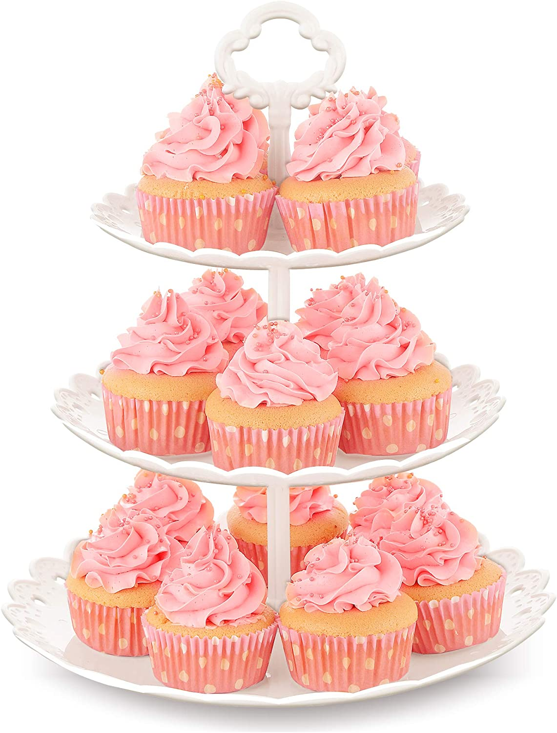 NWK Large 3-Tier Cupcake Stand 10.9Inch Plastic Serving Tray for Wedding Birthday Summer Baby Shower Graduation Party (White)