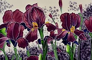 "Benaya – Floral Creations – Handcrafted Ceramic Art – Iris Garden - 8"" x 12"" Tile - Home Decor"