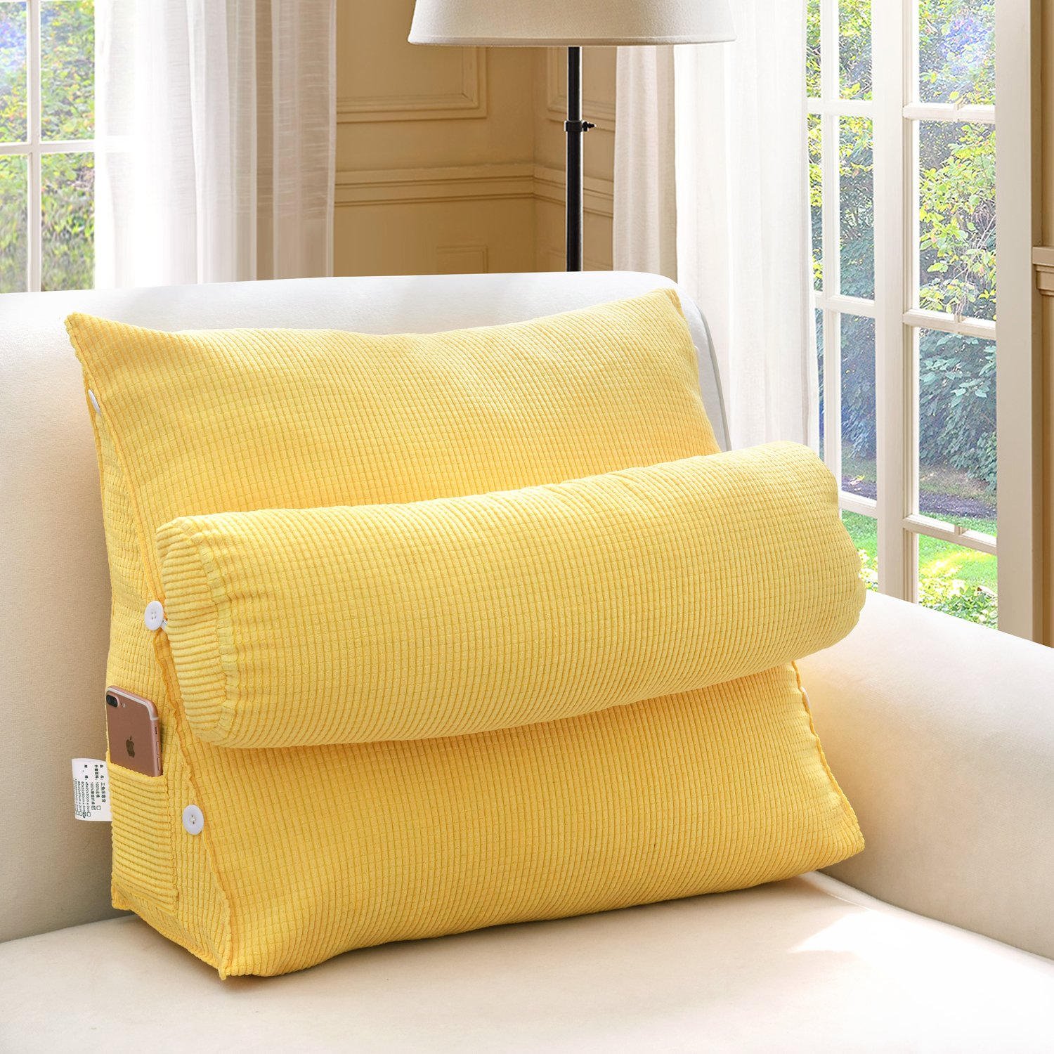Buildingdream soild Sofa or Bed Filled Triangular Wedge Cushion Positioning Support Pillow Lumbar Cushion - Lumbar Pillow, Protect and Soothe Your Back (21.6(L) 11.8(W) 23.6(H) inch, Stayle B)
