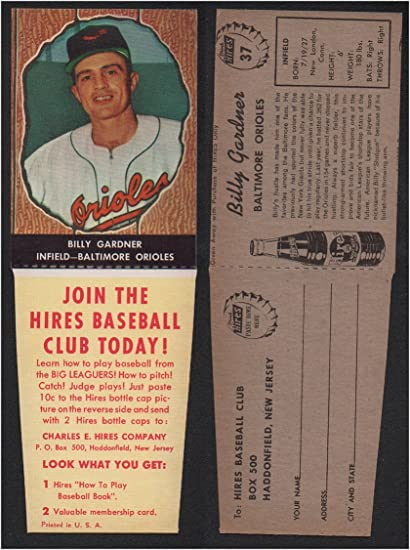 1958 Hires Root Beer With Tabs Baseball Card 37 Billy Gardner Of