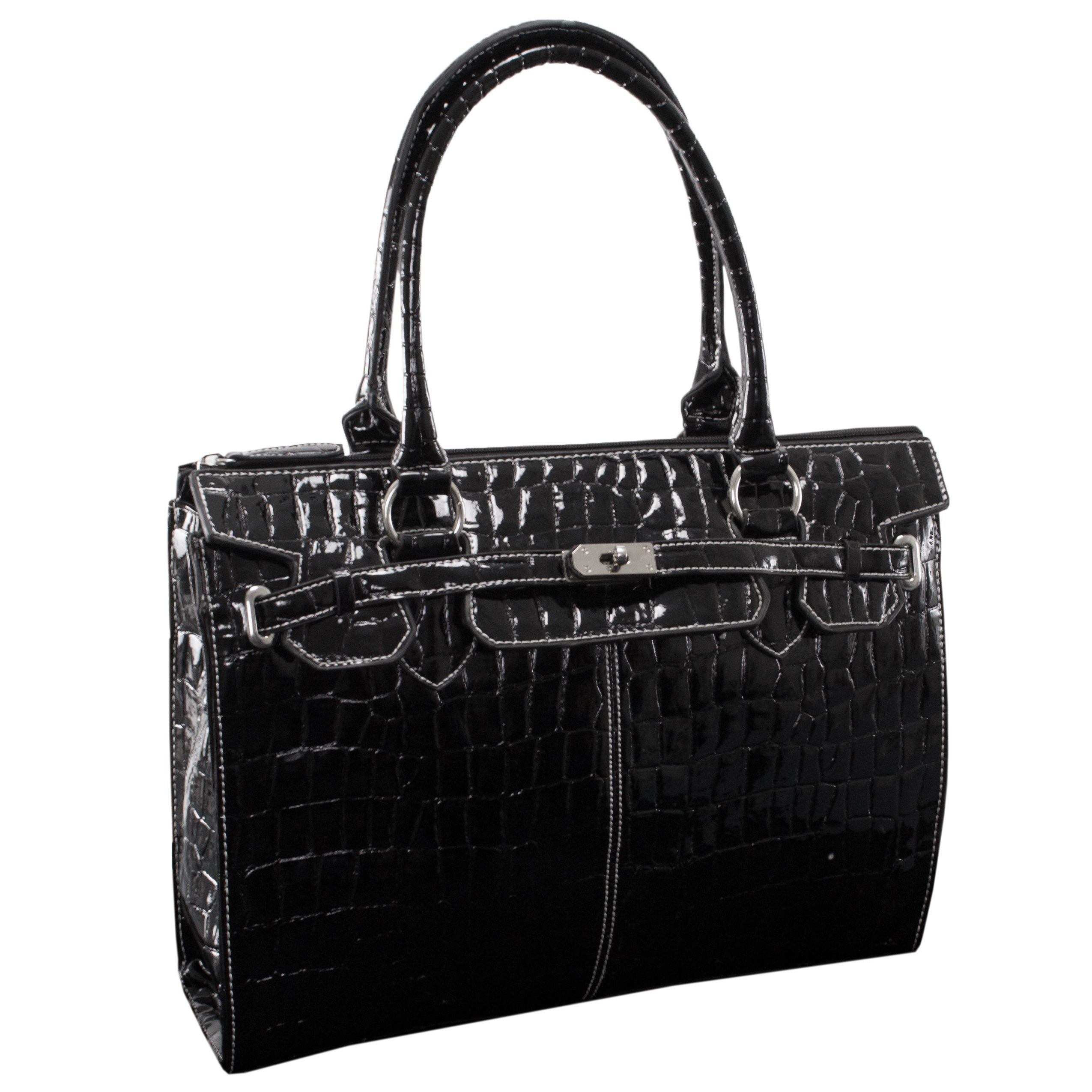 McKleinUSA FRANCESCA 11105 Black Faux Patent Croco Leather Ladies' Business Tote
