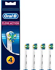Oral-B FlossAction Replacement White Toothbrush Heads, Refills for Electric Toothbrush, MicroPulse Bristles for Deep Cleaning Between Teeth, Pack of 4