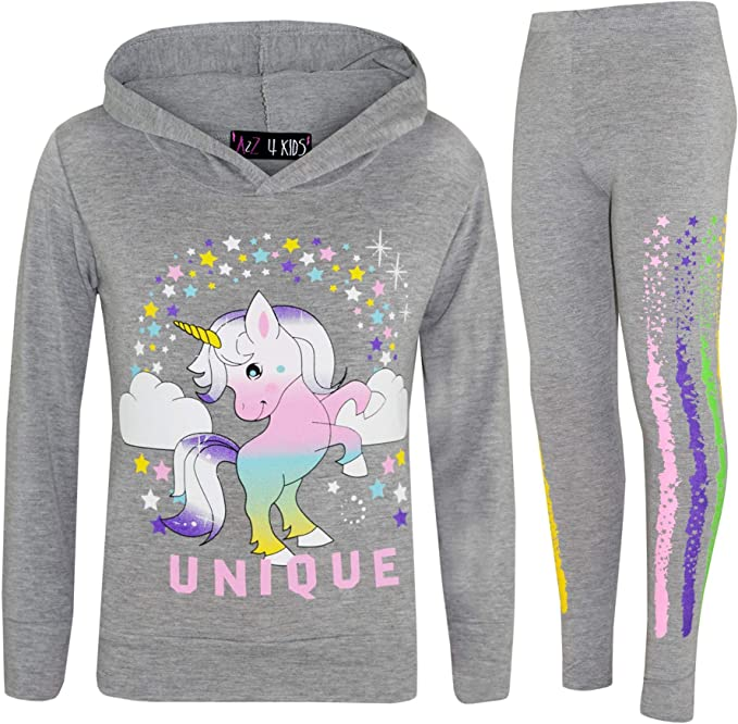 New Girls UNICORN Tracksuit Kids Lounge joggers Wear Hooded Christmas Gift greyf